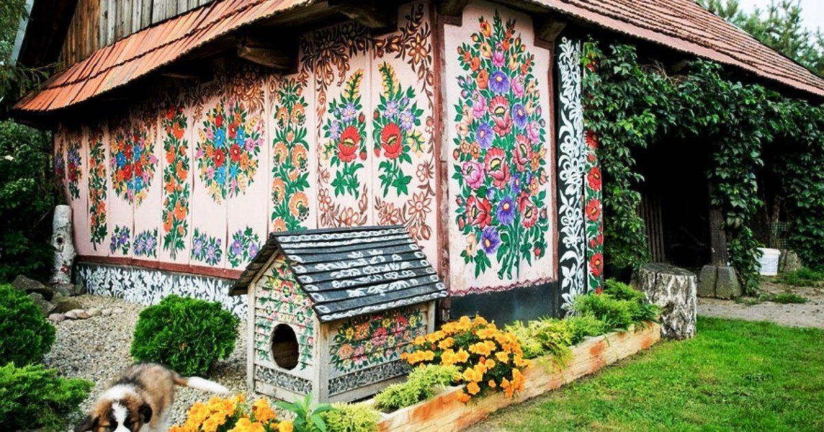 Собачья будка, расписанная в технике залипского рисунка, Залипье, роспись, интерьер стена, роспись стен, роспись картинки