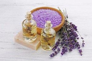 Spa composition with lavender essential oils, closeup