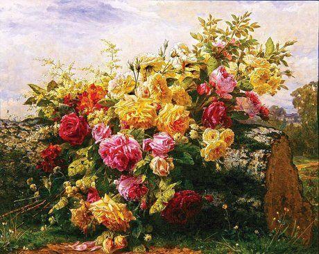 Натюрморт розы на стволе сваленного дерева. Ж.-Б. Роби