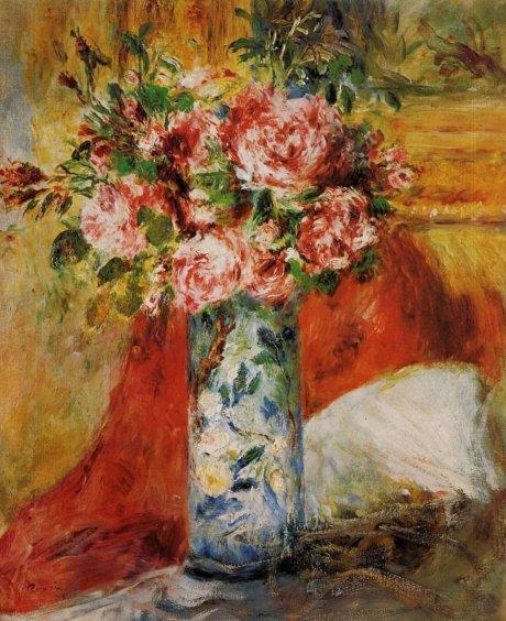 Розы в вазе. П. О. Ренуар