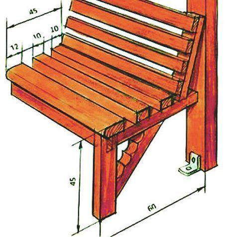 Удобная скамейка для беседки из поликарбоната