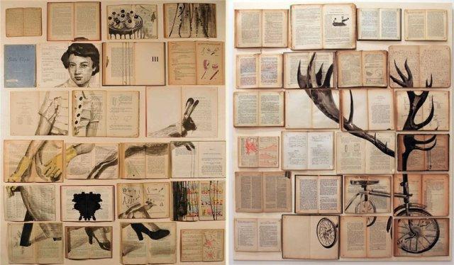 коллаж из книг с рисунками
