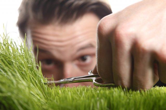 стричь траву ножницами