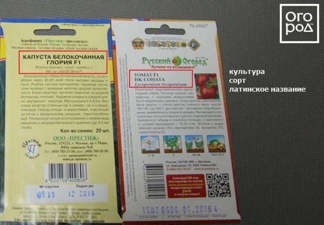 Название культуры и сорт на пакетах семян