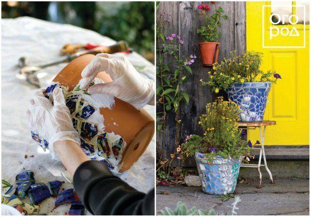контейнер для цветов своими руками, мозаика
