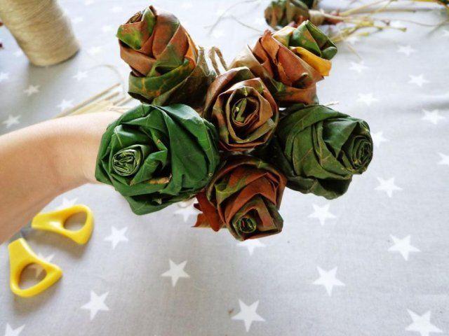 Роза из листьев пошагово 2