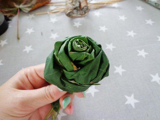 Роза из листьев пошагово 12