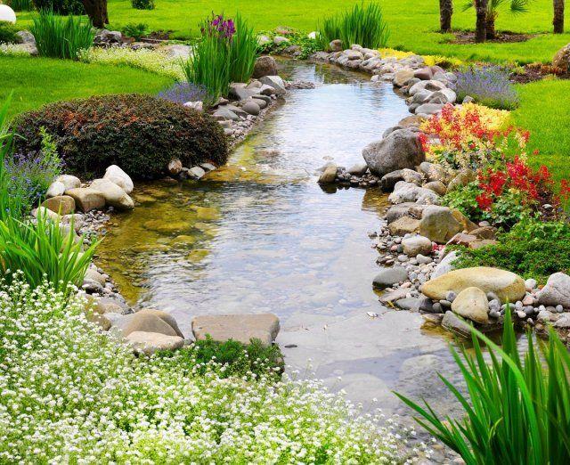 пруд, клумба, цветы, сад, вода