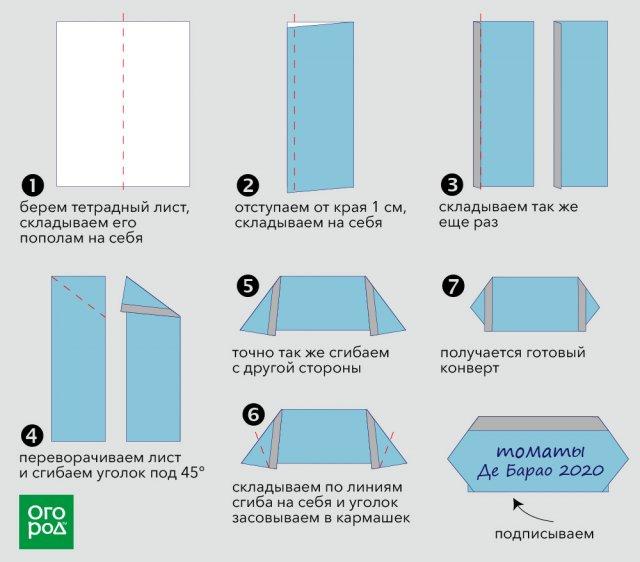 конверт из бумаги схема