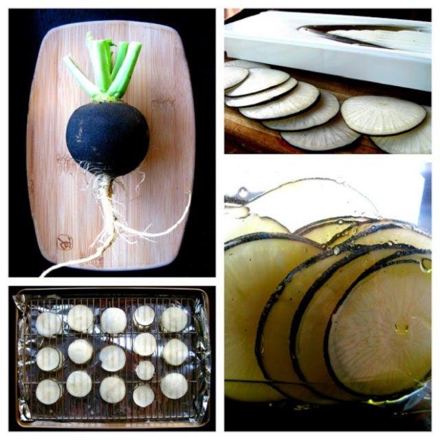 приготовление чипсов из черной редьки