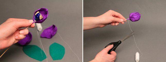фиолетовый тюльпан из бумаги