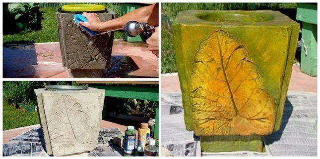 урна из бетона своими руками, рельеф лопуха фото