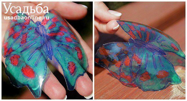 бабочка из пластиковой бутылки раскрашена маркерами фото