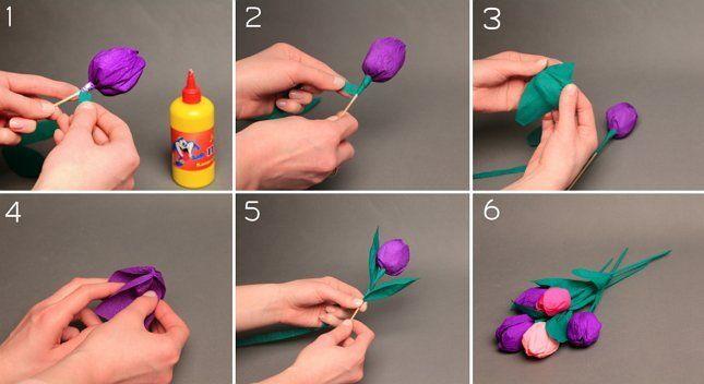 фиолетовые тюльпаны из бумаги пошагово
