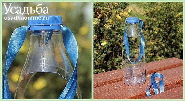 пластиковая бутылка, лента, горшок для цветов