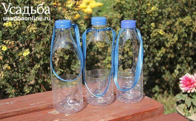три горшка для цветов из пластиковых бутылок