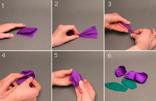 делаем фиолетовый тюльпан из бумаги