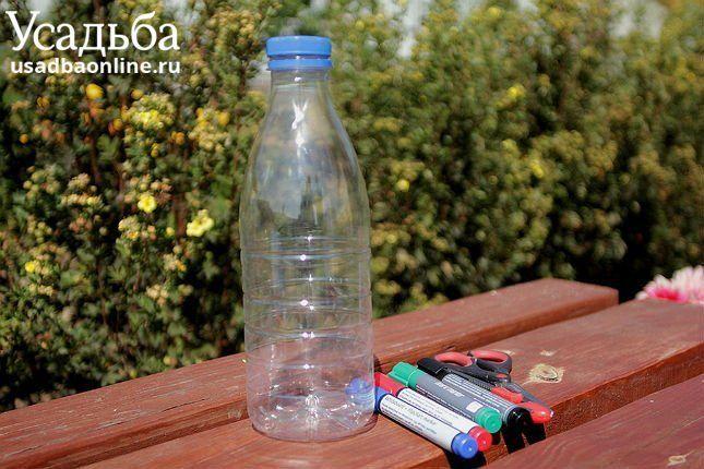 пластиковая бутылка ножницы маркеры для изготовления бабочки фото