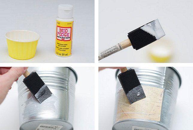 Клей для декупажа отлично приклеивает бумагу к жестяной поверхности