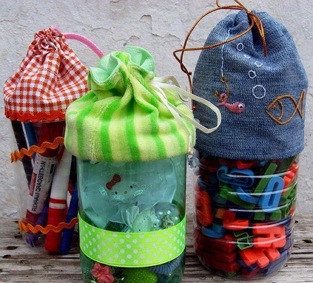 переноска из пластиковой бутылки для детских игрушек