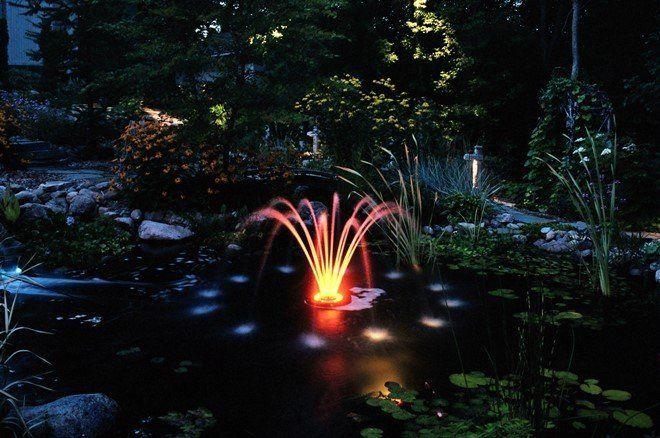 Большинство готовых моделей фонтанов продается со встроенной подсветкой