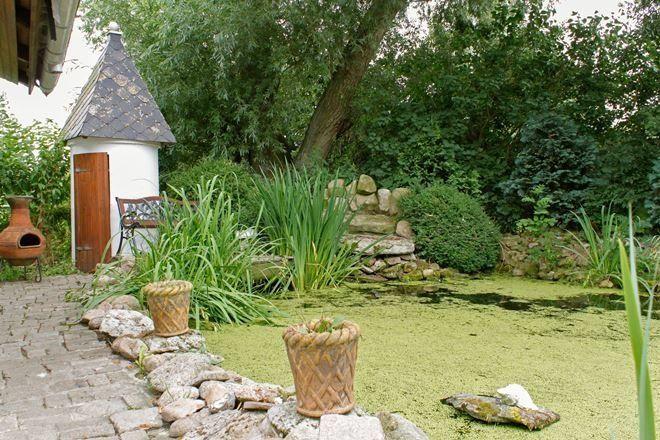 Старая посуда и горшки - отличные емкости для растений, посаженных вокруг пруда
