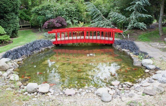 Выложенные камнями берега и яркие мосты приближают сад к японскому стилю