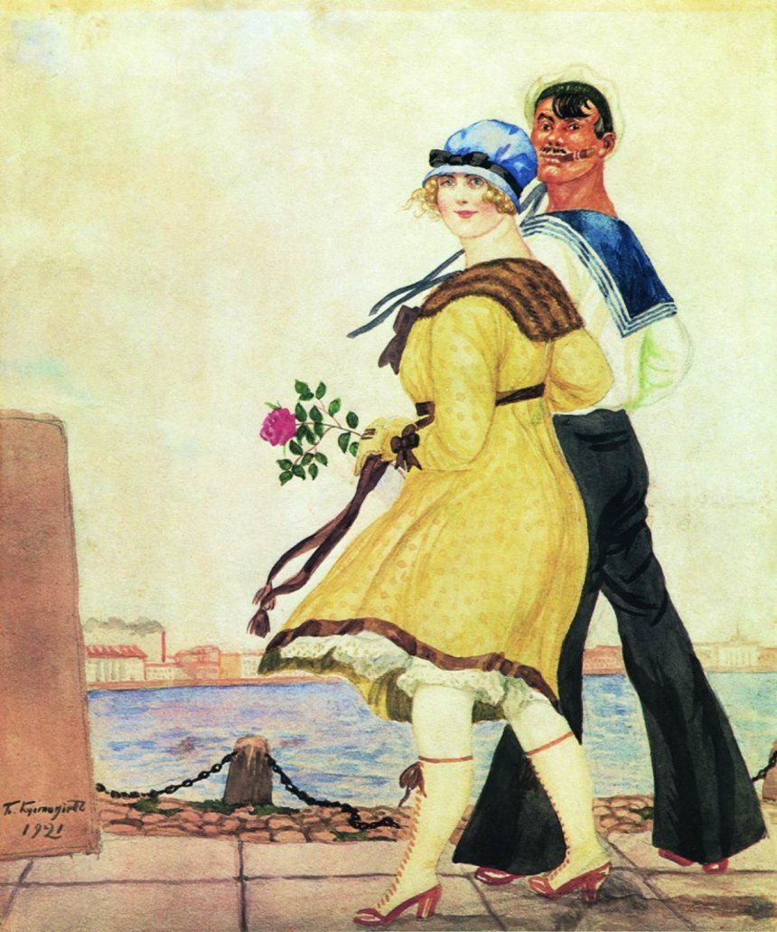 Матрос и милая. Б. М. Кустодиев