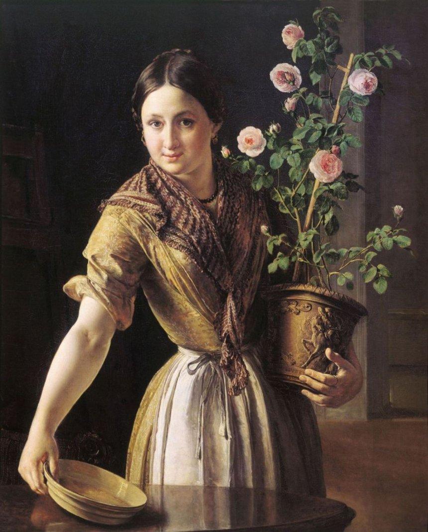 Девушка с горшком роз. В. А. Тропинин
