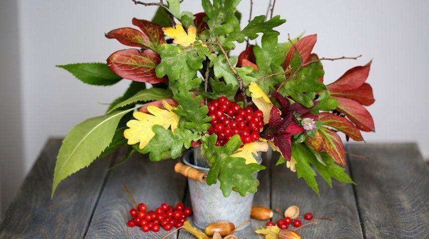 Осенний букет с рябиной своими руками 80