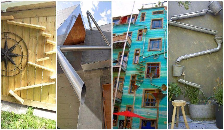 Как сделать необычный водосток для крыши – 7 оригинальных идей