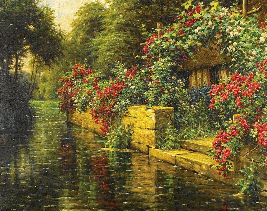 Плетистые розы на берегу реки. Л. А. Найт