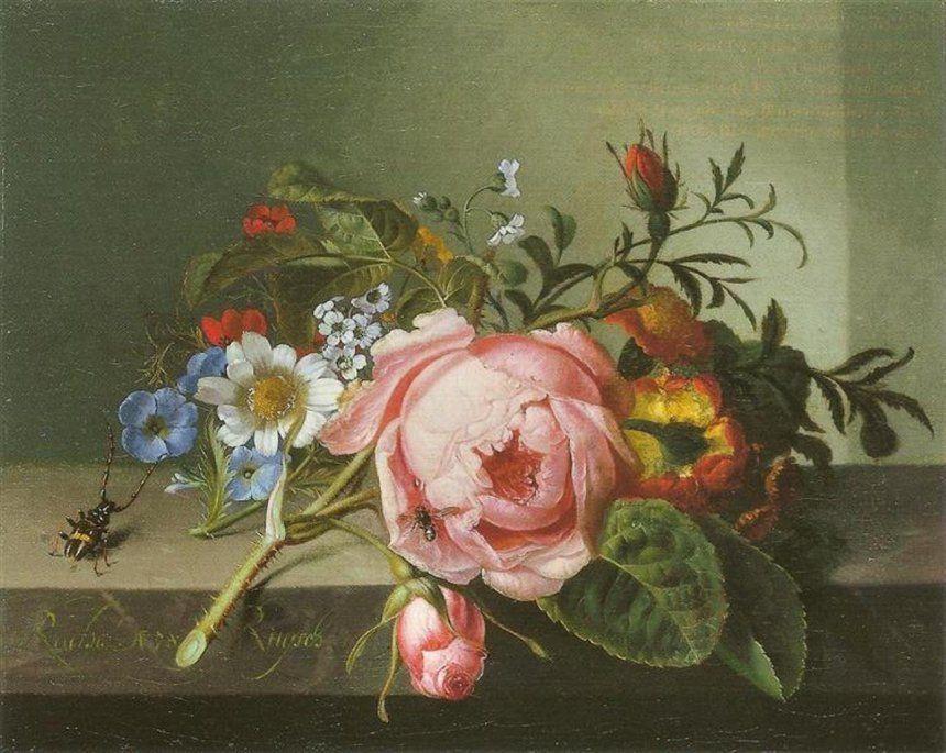 Ветка розы с жуком и пчелой. Р. Рюйш