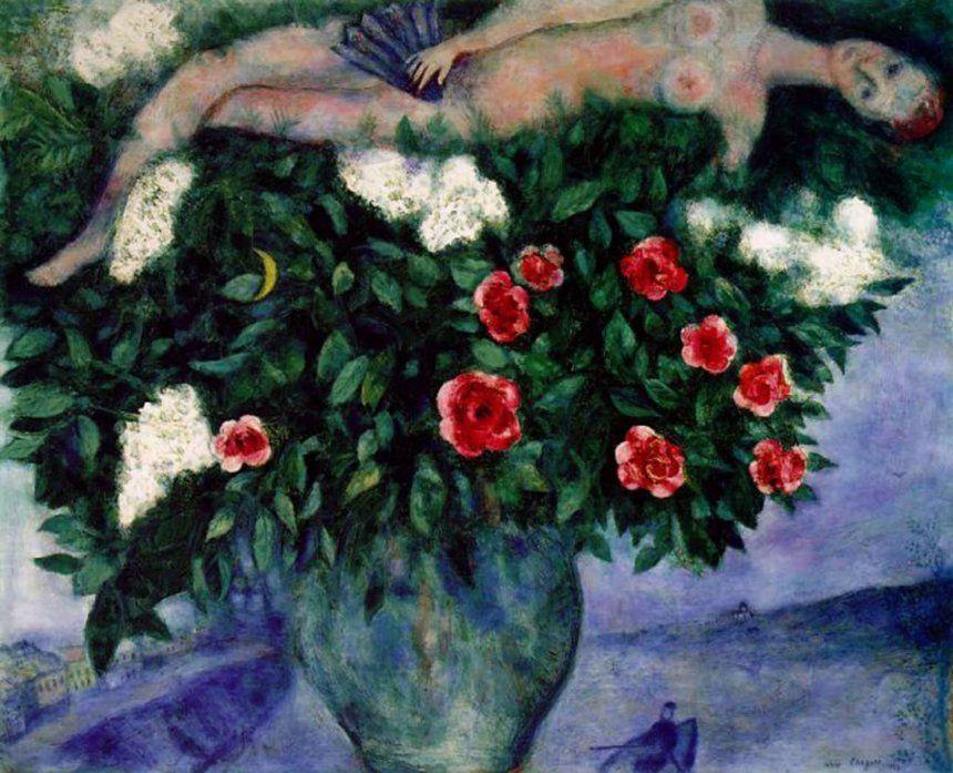 Женщина и розы. М. З. Шагал