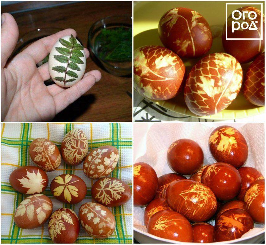 Крашеные яйца с листьями